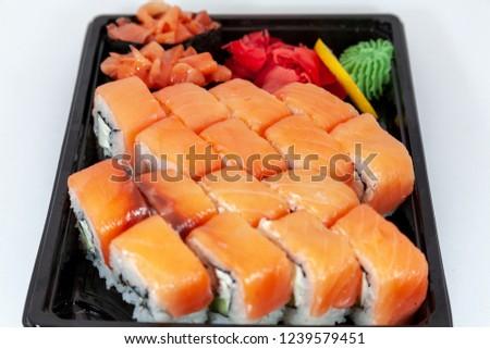 Sushi set Japanese food,rolls on white background #1239579451