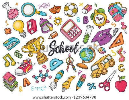 Hand drawn set of School doodles in Color vector