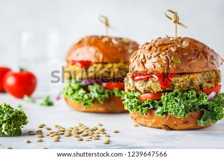 Vegan lentil burgers with kale and tomato sauce on a white background. Plant based food concept. Royalty-Free Stock Photo #1239647566