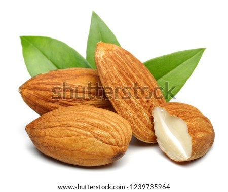 Almonds with leaves isolated on white background. Macro, studio shot. #1239735964