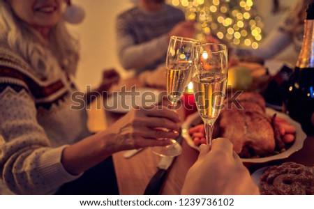Merry Christmas and Happy New Year! Festive family dinner. Celebrating winter holiday together #1239736102