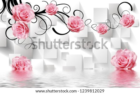Pink rose flowers over water on decorative background 3D wallpaper #1239812029