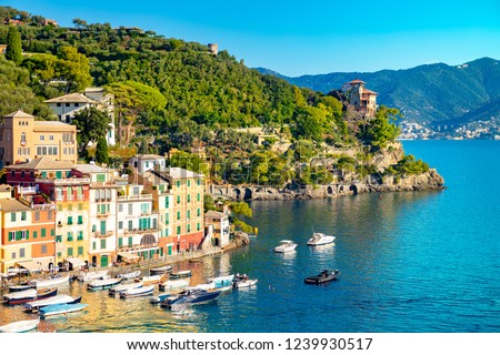 Beautiful sea coast with colorful houses in Portofino, Italy. Summer landscape #1239930517