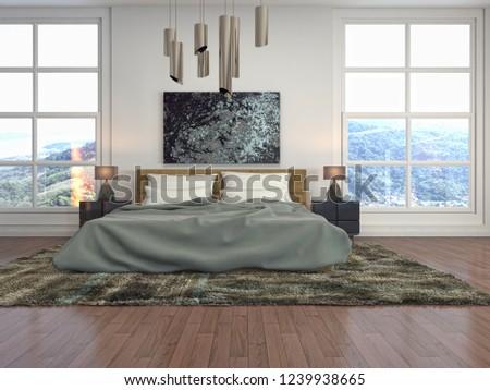 Bedroom interior. 3d illustration #1239938665
