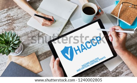 HACCP - Hazard Analysis and Critical Control Point. Standard and certification, quality control management rules for food industry. #1240002805