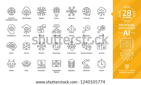 Vector artificial intelligence editable stroke thin outline icon set with machine learning, smart robotic and cloud computing network digital AI technology: internet, solving, algorithm, choice sign. Royalty-Free Stock Photo #1240105774