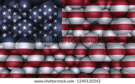 Flag Of United State On Top Of Round Shapes. 3D Illustration United State Flag And Round Shapes. Flag On Textured Shapes. #1240120342