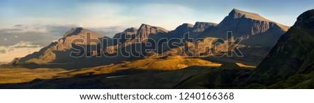 Trotternish ridge in warm sunset light, Isle of Skye, Scotland #1240166368