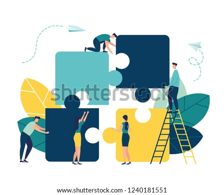 Business concept. Team metaphor. people connecting puzzle elements. Vector illustration flat design style. Symbol of teamwork, cooperation, partnership. Royalty-Free Stock Photo #1240181551