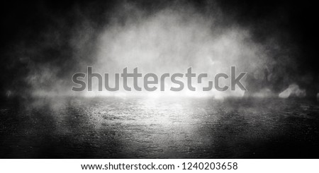 Background of empty room, street, neon light, bokeh, smoke, fog, asphalt, concrete floor