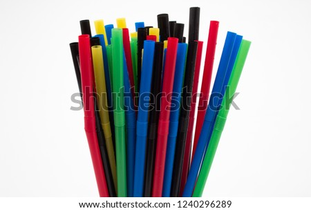 Bunch of colorful straws #1240296289