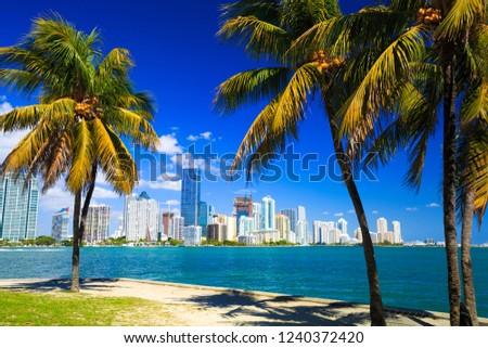 Skyline view of Miami Florida  #1240372420