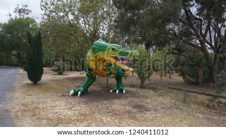 T-rex make up model for display for children. Height 2.1 meters good for illustration. Installed in a park