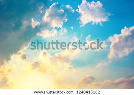 morning sky, sunlight shining on blue sky and clouds background #1240415182