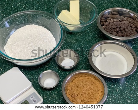 Chocolate chip cookie ingredients ready for next step #1240451077