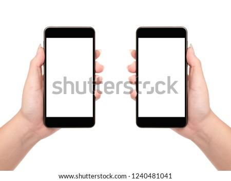 Woman hand holding smartphone isolated on white background. #1240481041