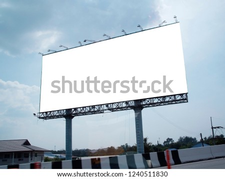 Blank billboard on blue sky background for new advertisement #1240511830