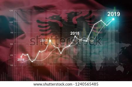 Growing Statistic Financial 2019 Against Albania Flag  #1240565485