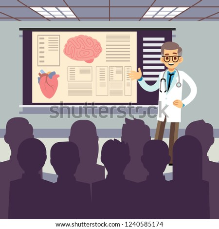 Medical conference vector illustration. Smiling doctor makes a presentation to the public