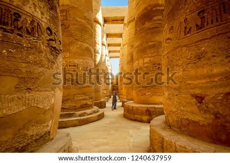 Egyptian temple guard in Karnak Complex, Luxor, Egypt #1240637959