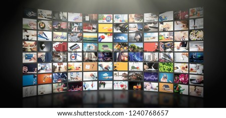 Television streaming video concept. Media TV video on demand technology. Video service with internet streaming multimedia shows, series. Digital collage wall of screen abstract composition #1240768657