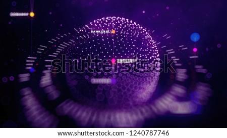 Big data sphere visualization with text. HUD wireframe mesh sphere with dot and lines. Visual data infographics design. Science technology. Digital Data. Analysis of information. #1240787746