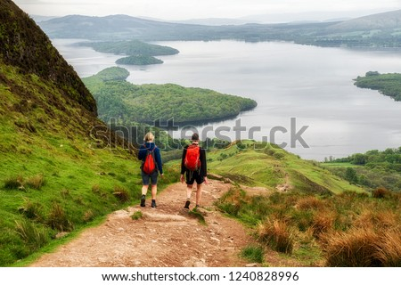 Hiking in Scotland. View from Conic hill. Lake Loch Lomond at background #1240828996