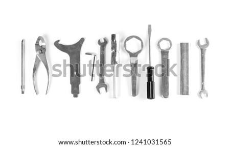Set of tools. Close up. Isolated on white background. #1241031565