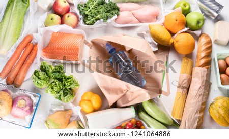 Grocery. Different health food. Grocery shopping concept. Balanced diet. Top view  #1241064886
