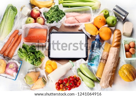 Grocery. Different health food. Grocery shopping concept. Balanced diet. Top view  #1241064916
