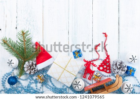 Christmas decoration frame background on old white wood table #1241079565