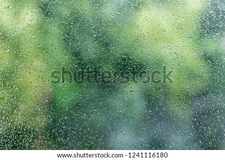 Raindrops on the glass window with green blurry background.