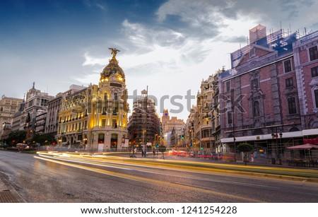 Traffic lights in Gran Via, Madrid #1241254228