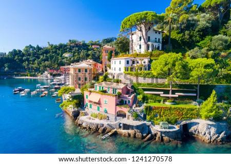 Beautiful sea coast with colorful houses in Portofino, Italy. Summer landscape #1241270578