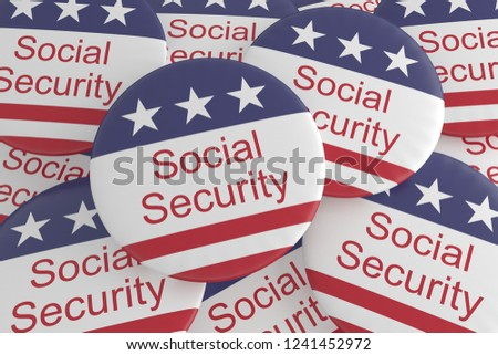 USA Politics News Badges: Pile of Social Security Buttons With US Flag, 3d illustration #1241452972
