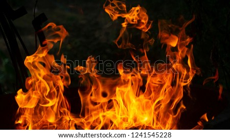 Fire flames on Abstract art black background, Burning red hot sparks rise from large fire in, Fiery orange glowing #1241545228