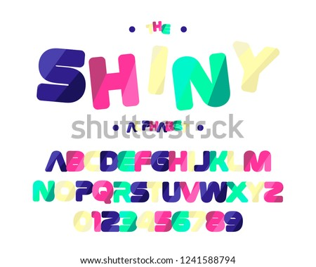 Shiny colorful font. English alphabet and numbers. #1241588794
