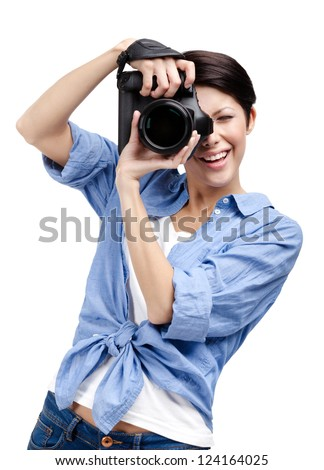 Woman-photographer takes images, isolated on white background