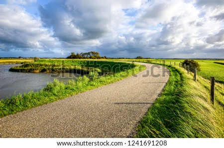 Rural road sky clouds landscape. Country rural road view. Rural country road. Rural summer road scene #1241691208