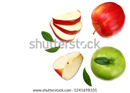 green and red apples with slices isolated on white background. top view #1241698105