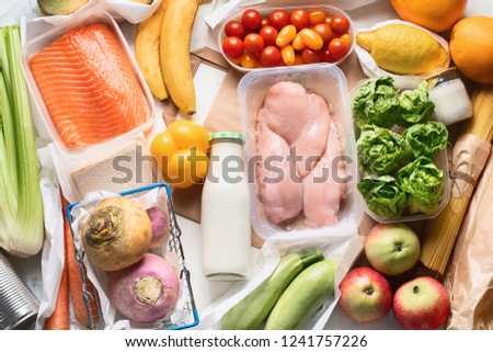 Grocery. Different health food. Grocery shopping concept. Balanced diet. Top view  #1241757226