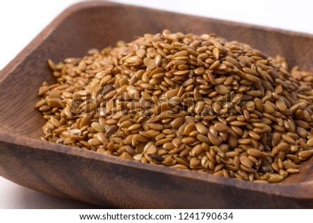 Brown flaxseed, organic food. #1241790634