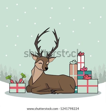 Deer Christmas Presents #1241798224