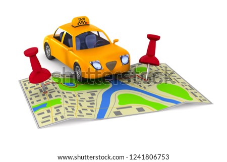 Service taxi on white background. Isolated 3D illustration #1241806753