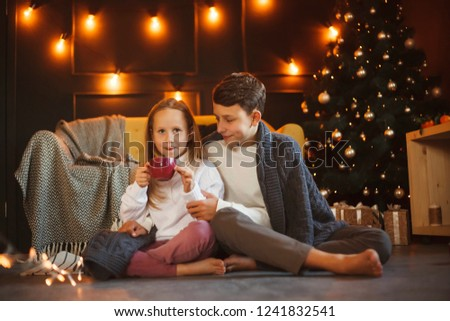 Boy and girl friends or brother and sister with cups of cocoa with marshmallows in Christmas interiors. The concept of Christmas and New Year. Winter time. #1241832541