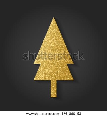 Beautiful Golden Christmas Tree #1241860153