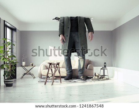 the man figure, breaking the ceiling in the living room. Photo and media elements conbinated #1241867548
