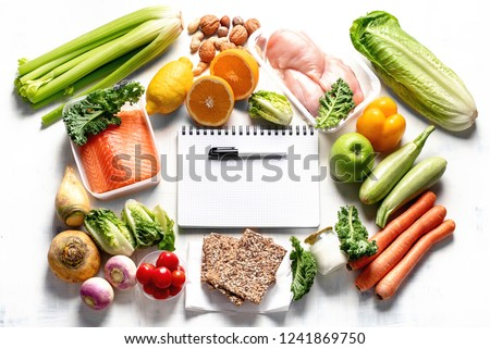 Healthy eating plan. Diet and meal planning. Top view. Flat lay #1241869750