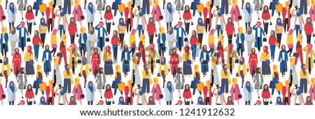 Hijab muslim women. Modern people in islamic style clothes. Arabic modest fashion. People characters vector banner, can be tiled horizontally #1241912632