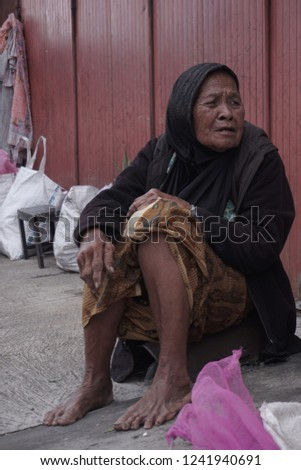 Yogyakarta, Indonesia - November 21st 2018: portrait of human activity in Jogja Traditional Market #1241940691